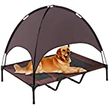 SUPERJARE XLarge Outdoor Dog Bed | Elevated Pet Cot with Canopy | Portable for Camping or Beach | Durable 1680D Oxford Fabric | Extra Carrying Bag - Brown