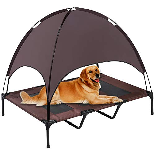 SUPERJARE Outdoor Dog Bed, Elevated Pet Cot with Canopy, Portable for Camping or Beach, Durable 1680D Oxford Fabric, Extra Carrying Bag – Brown