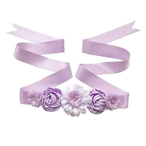 - Maternity Sash Belt with Flower, Floral Baby Shower Belly Sash, Flower Girl Sash, Pregnancy Sash Belt for Photography (B-purple)