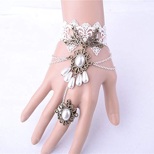 Gothic Punk Faux Pearl Lace harness Slave Bangle Bracelet Cuff Finger Ring