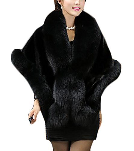 zhaoabao Womens Faux Fur Cape Coats Dress Plus Size Black OneSize