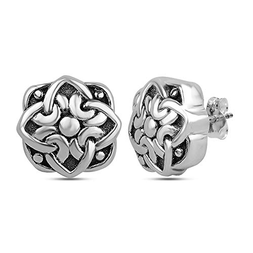 Silver Antique Sterling Filigree - LeCalla Sterling Silver Jewelry Light Weight Antique Filigree Cut Square Shaped Stud Earring for Women