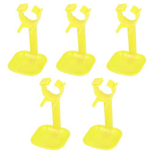 8pcs Yellow Plastic Fount Waterer Feeder Hanging Poultry Drip Cup