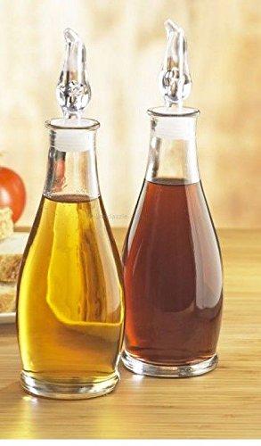 Juego de 2 botellas de cristal para drizzlers de vinagre, sin goteo