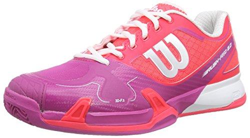 Wilson Rush Pro 2.0 Clay, Unisex adultos Zapatillas de tenis, Rojo / Rosa / Blanco, 37