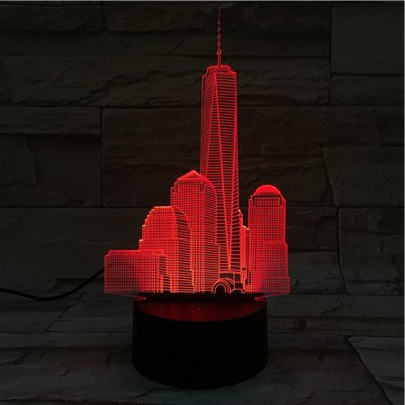 3D Night Light USB Led Night Light World Trade Center Atmosphere Lamp Decoration Kids Baby Gift Famous Buildings Table Lamp Bedside Neon ()