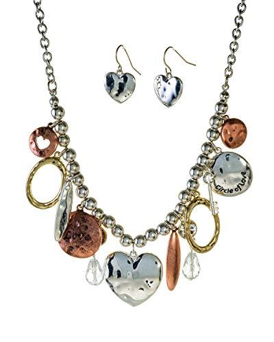 Jewelry Nexus Hammered Heart Circle of Love 18