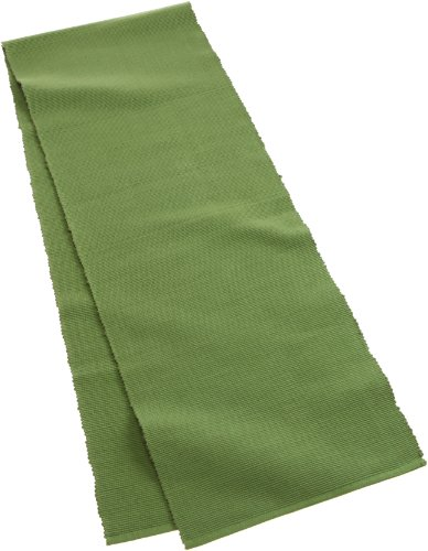 Mahogany Solid-Color 100-Percent Cotton Ribbed Table Runner, 13-Inch by 72-Inch, Green Oasis