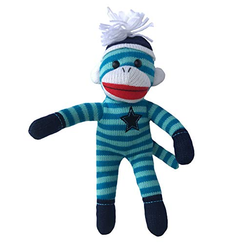 ColorBoxCrate Blue Sock Monkey Plush, 12 inch Classic Sock Monkey with Blue Stripes, Embroidered Blue Star, Stuffed Animal Toy with Soft Fabric for Boys with Red Lips and Blue Pom Pom Tossle Hat ()