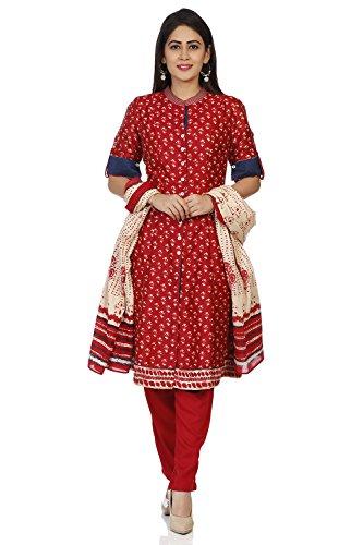 - BIBA Women's Red Polyster Salwar Kameez Dupatta Size 36