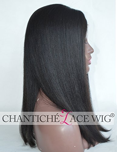 """Search : Chantiche Glueless Yaki Straight Short Bob Cut Silk Top Lace Front Wigs Human Hair with 3"""" Invisible Middle Deep Parting Best Indian Remy Hair Full Wig for African Americans 16 Inch Natural Color"""