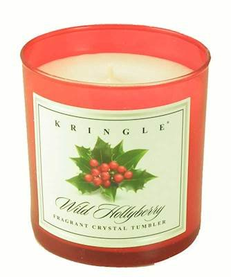 WILD HOLLYBERRY Colored Crystal Tumbler Candle by Kringle