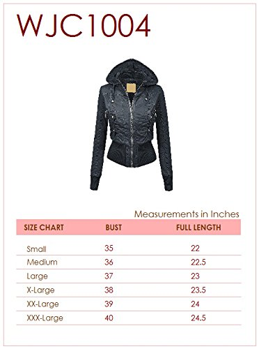 WJC1004 Womens Casual Inner Fleece Bomber Jacket with Removable Hoodie L CORAL by Lock and Love (Image #6)