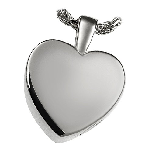 Memorial Gallery MG-3146wg Classic Heart 14K Solid White Gold (Allow 4-5 Weeks) Cremation Pet Jewelry, Small by Memorial Gallery
