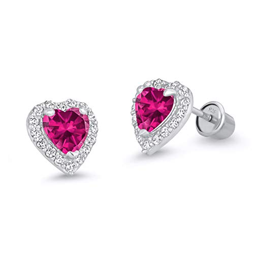 (925 Sterling Silver Rhodium Plated Red Heart Cubic Zirconia Screwback Baby Girls Earrings)