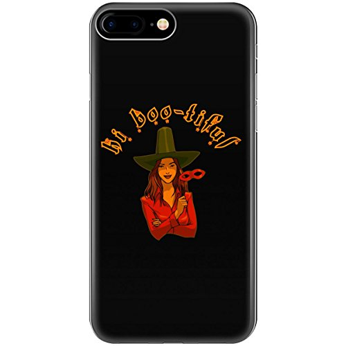 Hi Boo-tiful Smiling Woman In Witch Hat Holding Mask - Phone Case Fits Iphone 6, 6s, 7, 8]()
