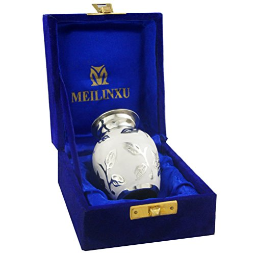 Keepsake Cremation Urn Brass - M MEILINXU Mini Keepsake Funeral Urns - Small Cremation Urn for Human Ashes Adult - Brass Hand Engraved - Fits a Small Amount of Cremated Remains - Burial Urn at Home or Office (Bram White Rose
