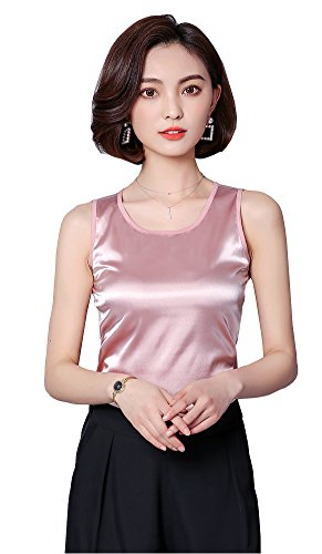 ezShe Women's Round Neck Sleeveless Blouse Satin Shell Tops Pink M