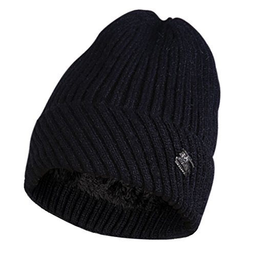 HonYea Beanie Knit Fleece Lined Hats For Women Soft Warm Winter Caps,Black Warm Fleece Hat