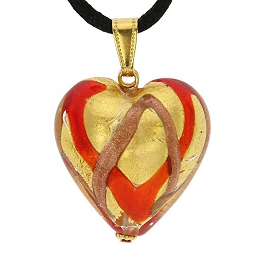 Murano Heart Pendant - Red Waves Gold by GlassOfVenice