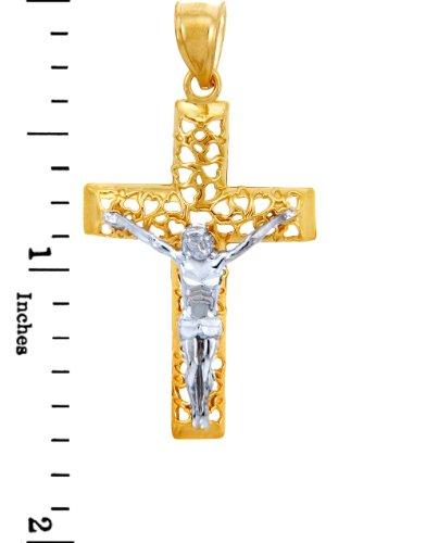 10 ct 471/1000 Sacree Deux Ton Or Croix- Pendentif