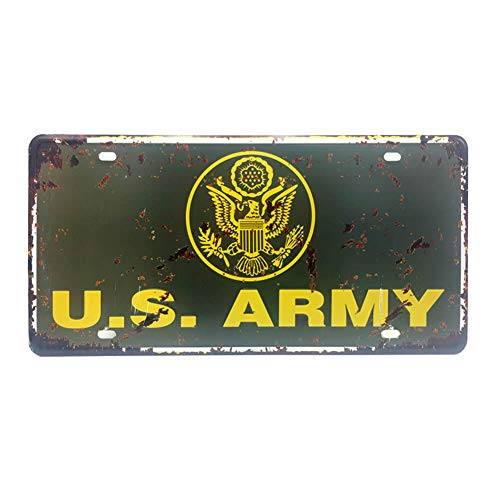 Ayiguri Vintage Feel Wall Decor Car Vehicle License Plate SPTE Souvenir Tinplate Metal Sign Poster Plaque 12 x 6 Inches (US Army)