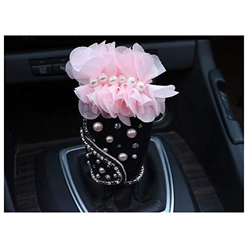 Siyibb Rhinestone Leather Car Gear Shift Knob Cover Silk Flower Decor - Pink ()