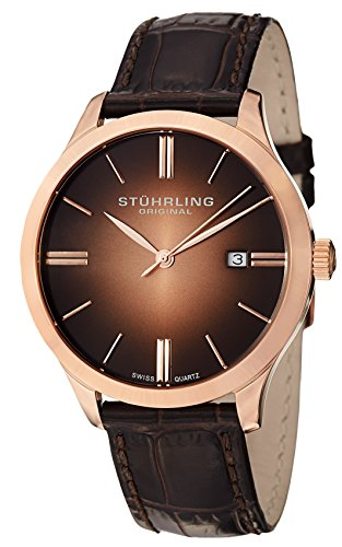 - Stuhrling Original Men's  490.3345K14 Cuvette II Analog Swiss Quartz Brown Leather Watch, Rose Gold