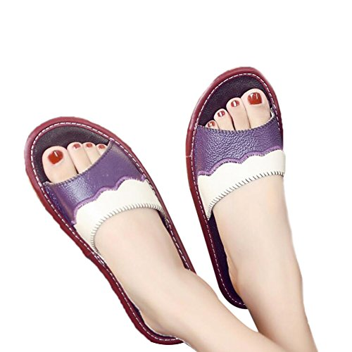 TELLW Couples Cowhide Home Indoor Floor Leather Slippers Summer Anti-Slip Home Cool Slippers Women Purple vsNIe9EN