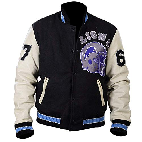 Detroit Lions Varsity Letterman Football Jacket - Wool Leather Bomber Jacket -
