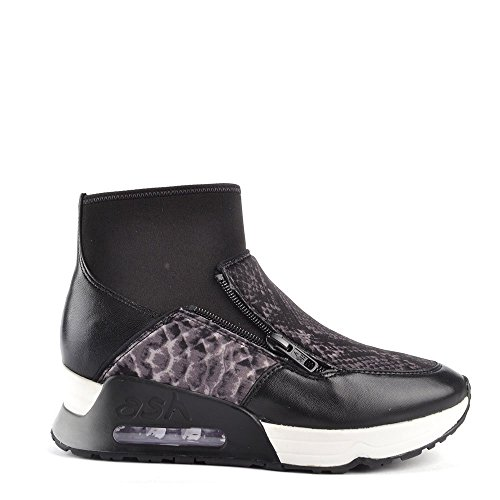 Negro De Zapatillas Mujer Liu Cuero Zapatos Ash Bis qwIt00