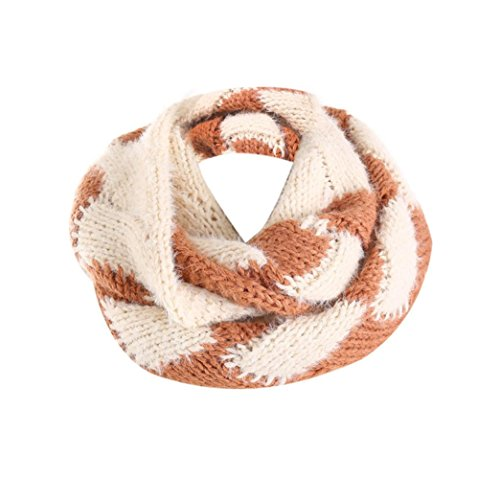 Clearance!! WuyiMC Womens Thick Ribbed Knit Winter Infinity Circle Loop Scarf (Brown)
