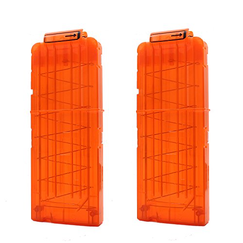 Hosim Reload Clip for Nerf, 2 Pcs Soft Bullet Clips High Capacity12-Dart Magazines for Nerf N-Strike Kid's Toy Gun - Transparent Orange (Nerf Magazine Clip)