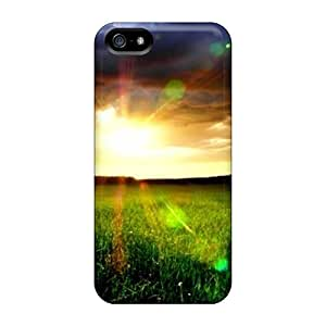 Durable Protector Case Cover With Landscape Sunset Clouds Grass Field Hd Hot Design For Iphone 5/5s