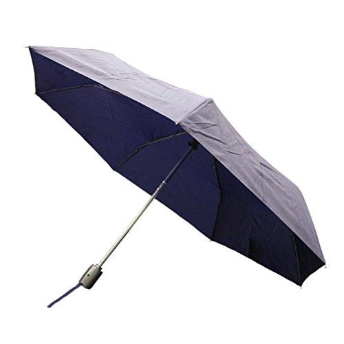 Totes Auto Open Auto Close Umbrella w/ Grey Handle (Navy)