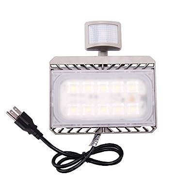 Cold White, 30W 220V UK Plug : Led Flood light Motion Sensor 50W 30W 110V 220V Cree Reflector Waterproof PIR Projector Lamp Outdoor lighting