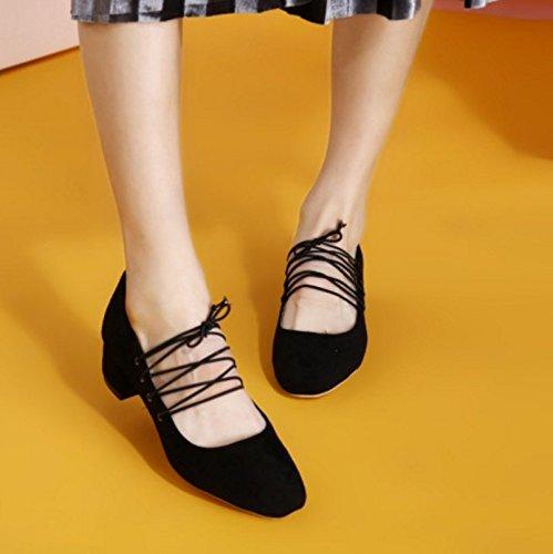 FANIMILA Mujer Moda Tacon medio Bombas Zapatos Solid Cordones Tacon Ancho Zapatos negro