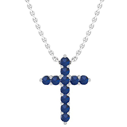 Dazzlingrock Collection 14K Round Blue Sapphire Ladies Cross Pendant (Silver Chain Included), White Gold Blue Sapphire Gold Cross