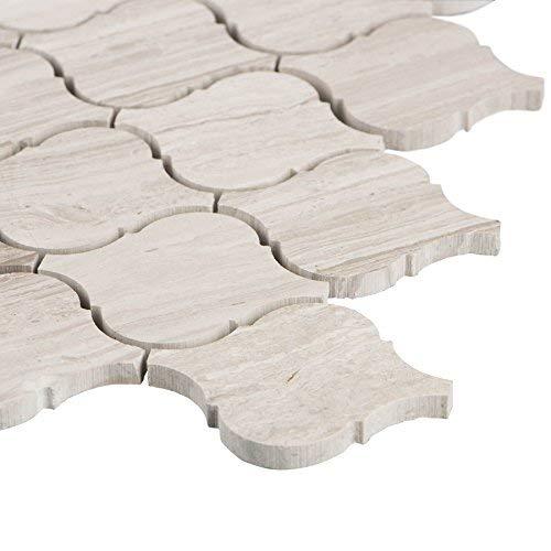 MAYKKE Lovisa 10-Pack Arabesque Mosaic Wall and Floor Tile 12'' x 12'' Mesh-Mount Kitchen, Bathroom, Laundry Room Subway Backsplash & Flooring Fade Resistant Wooden White Marble, YOA1210102