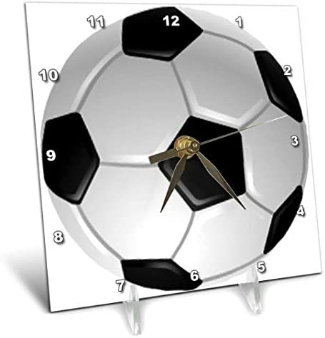 3dRose dc_6254_1 Soccer Ball-Desk Clock, 6 by 6-Inch