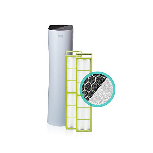 Alen Paralda Tower Air Purifier with 2 HEPA-Silver-Carbon filters removes airborne allergens like dust, pet dander, mold spores and pollen (White, Smart Bundle, 1-Pack)