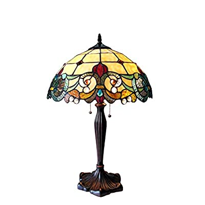 "Chloe Lighting CH818767IV16-TL2 Tiffany Tiffany-Style 2 Light Victorian Table Lamp 16"" Shade, Multi"