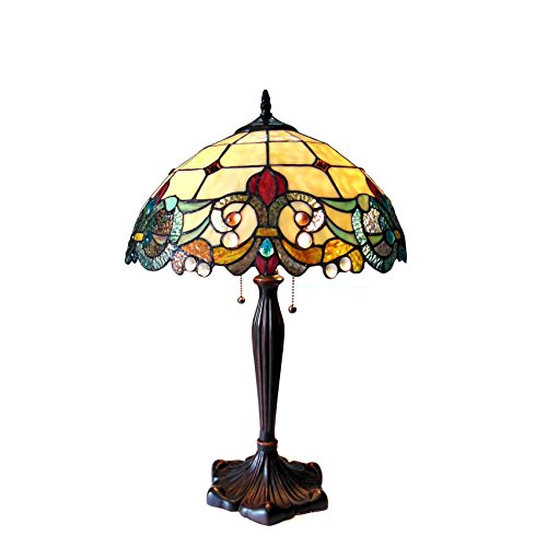 Chloe Lighting CH18767IV16-TL2 Dulce Tiffany-Style 2 Victorian Table Lamp 16″ Shade 2 Light