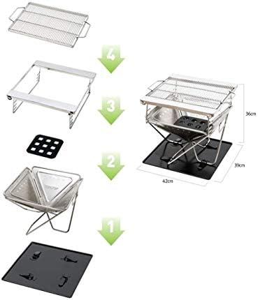 SCRFF Barbecue Grill Barbecue Portable Barbecue au Charbon de Bois Smoker Grill for la Cuisine en Plein air Camping Randonnée Pique-Nique