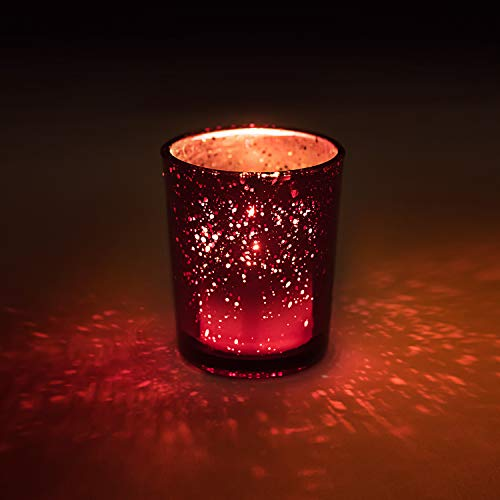 """Homemory 12Pcs Glass Votive Holders, Speckled Red Tealight Candle Holders, 2.75"""" Tall Mercury Glass Candle Holder for Weddings, Parties and Home Decoration from Homemory"""