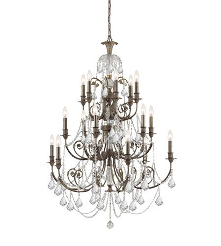 (Chandeliers 18 Light With English Bronze Clear Swarovski Strass Crystal Wrought Iron 37 inch 1080 Watts - World of Lighting )