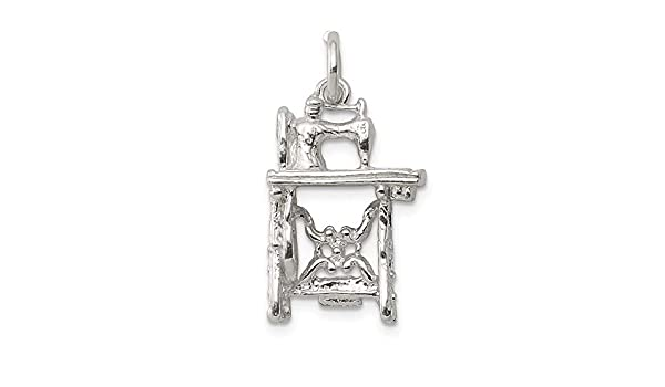 15mm x 21mm Solid 925 Sterling Silver Sewing Machine Pendant Charm