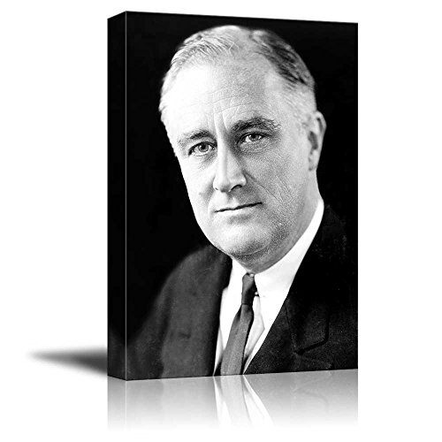 wall26 - Portrait of Franklin D. Roosevelt (32th President of The United States) - American Presidents Series - Canvas Wall Art Gallery Wrap Ready to Hang - 12x18 -