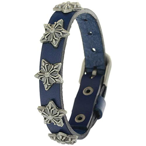 BRLTime Punk Gothic Rock Metal Rivet Leather Wristband Bracelet Cowhide Bangle Cool Mens Alloy Stud Charm Retro Rock Buckle Clasp Cuff
