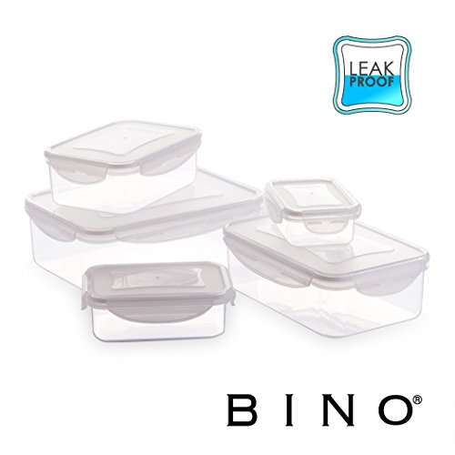 BINO TRUELOCK 10-Piece Rectangular Leak-Proof Plastic Snap Lock Food Storage Container Set with Lids, (White Transparent Refrigerator)
